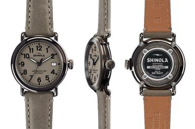Shinola Runwell 36mm Gray Leather Strap, Gray Dial Watch