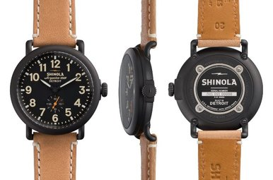 Shinola Runwell 41mm Natural Leather Strap, Black Dial/Case/Buckle Watch