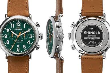 Shinola Runwell Chrono 47mm, Tan Leather Strap, Green Dial Watch