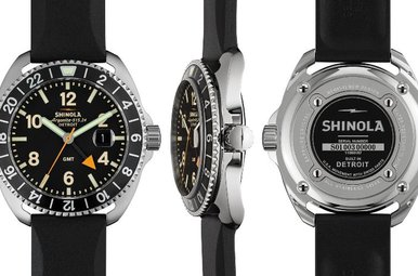 Shinola Rambler 44mm, Black Rubber Strap, Black Dial Watch
