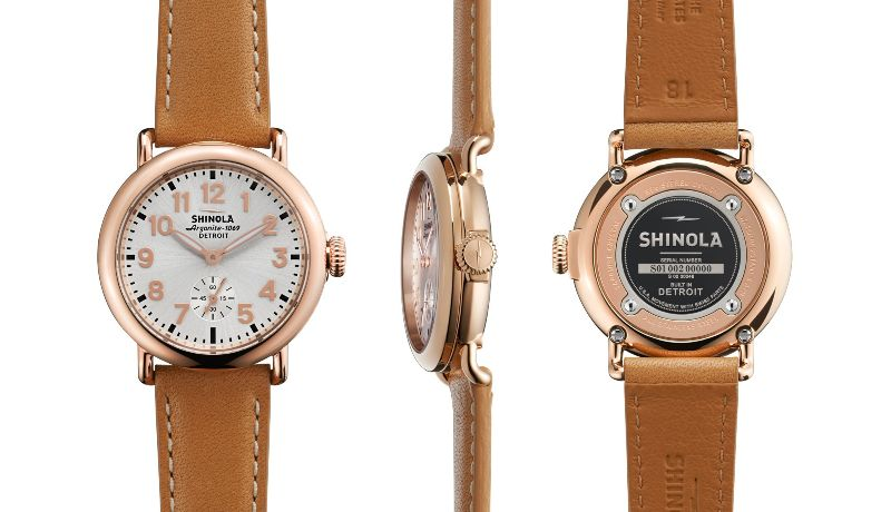 Shinola Runwell 36mm, Natural Leather Strap, Rose Case/Buckle, Silver Dial Watch