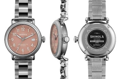 Shinola Runwell Coin Edge 38mm, Silver Bracelet, Pink Dial Watch
