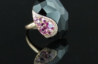 "14k Rose Gold 1.33ctw Pink Sapphire, .10 ctw Diamonds, 1""x7/8"" Fancy Faceted Black Onyx Ring"
