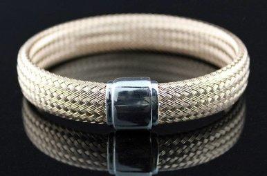 Rose Sterling Woven Magnetic Bangle Bracelet