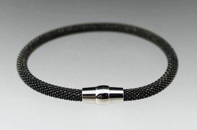 Sterling Italian Mesh Magnetic Bangle Bracelet