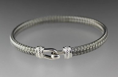 Sterling Silver Woven Gunmetal Hook Bangle