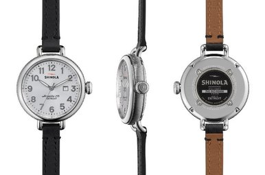 Shinola Birdy 34mm Double Wrap Leather Strap Watch