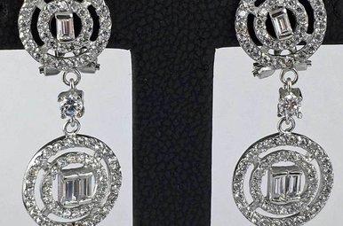 Sterling Em Halo Fashion Earrings
