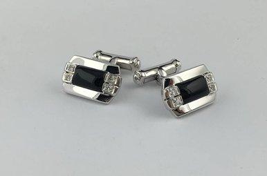 18kw Blk Onyx 1/4ctw Diamond Cuff Links