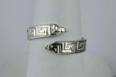 Sterling Silver Greek Key Wrap Ring (Sz 5.5)