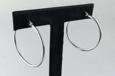 14k White Gold Polished 30mm Hoop Earrings