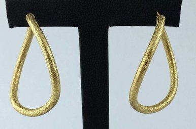 14k Yellow Gold Bead Blast Wave Hoop Earrings