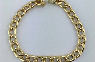 "14k Yellow Gold Curb Link 7"" Bracelet"