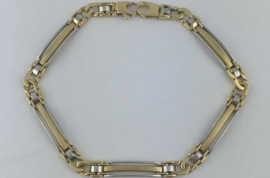 """14k TT Link & Bar 8.5"""" Bracelet"""