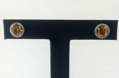 14k White Gold .20ct Diamond & 1ct Citrine Halo Stud Earrings