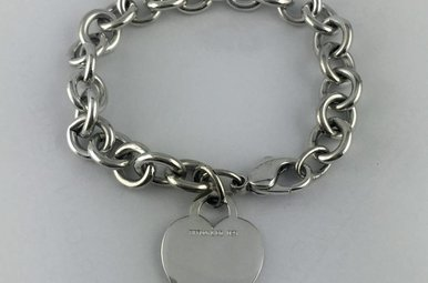 Tiffany & Co 925 Heart Tag Bracelet 7.5""