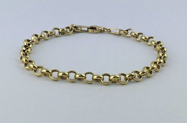 14k Yellow Gold Rolo Link Bracelet 7.25""