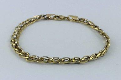 "10k Two-Tone White/Yellow Gold Fancy Link Bracelet (6 3/4"")"