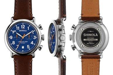 Shinola Runwell Chrono 47mm Blue Dial Dark Brown Leather Watch (#S0100047)