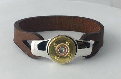 IBGoodman 20 Gauge Shell Brown Leather Bracelet - 7.5 inch (Medium)