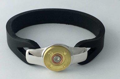 IBGoodman 20 Gauge Shell Black Leather Bracelet (Large)