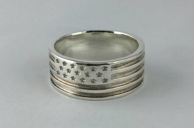 Sterling Silver American Flag Band Sz 11.5