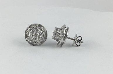 14k White Gold 1.13ctw Diamond Vintage Stud Earrings