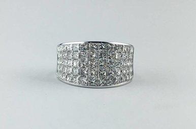 14k White Gold 3.43ctw Diamond Princess Cut Fashion Ring