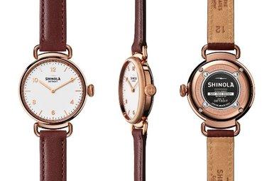Shinola Canfield 32mm 2-Hand Leather Strap Watch