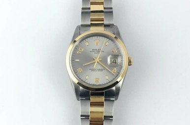 Rolex 18k/Stainless Steel Oyster Perpetual Date 34mm Smooth Bezel Watch