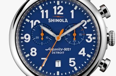 Shinola Runwell Chrono 41mm Blue Dial Dark Brown Strap Watch