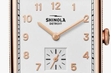 Shinola Cass 28mm Rose PVD White Dial Bourbon Leather Strap Watch