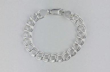 """Sterling Silver Polished Double Link Bracelet 6"""""""
