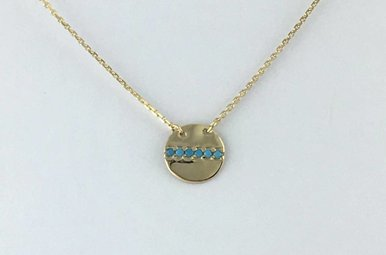 14k Yellow Gold Turquoise Disc Adjustable Necklace 16-18""