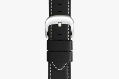 Shinola 20mm Black Leather White Stitching Watch Strap (115x75mm)