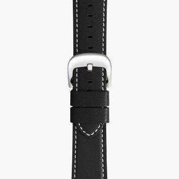 Shinola 20mm Black Leather White Stitching Watch Strap (115x75mm)