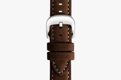 Shinola 20mm Dark Nut Brown Leather White Stitching Watch Strap (115x75mm)