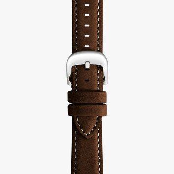 Shinola 20mm Dark Nut Brown Leather White Stitching Watch Strap (115x75mm)
