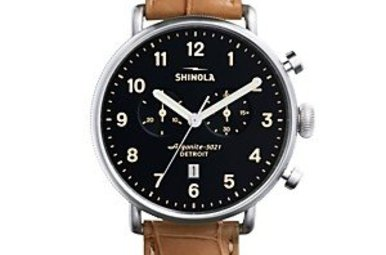 Shinola Canfield 43mm Black Dial Tan Alligator Leather Strap Watch (S0120001942)