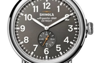 Shinola Runwell 47mm Cool Gray Dial Dark Cognac Leather Strap Watch (S0120018330)