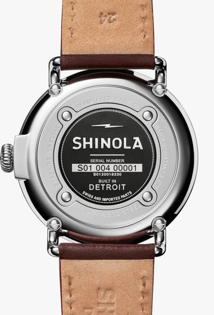 Shinola Runwell 47mm Cool Gray Dial Dark Cognac Leather Strap Watch (S0120018330)