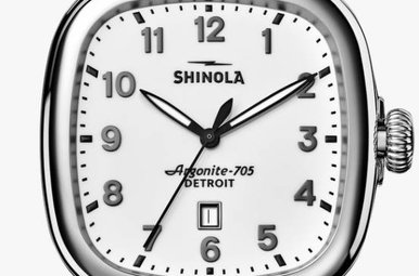 Shinola Guardian 41.5x43mm White Dial Black Leather Strap Watch (S0120029584)