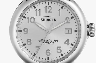 Shinola Runwell 36mm Silver Dial Silver Polished/Brushed Link Bracelet Watch