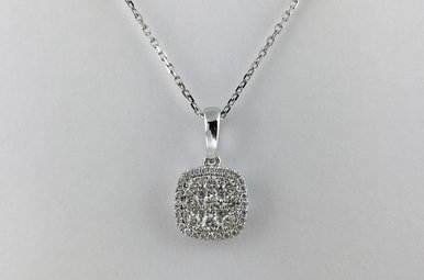 14k White Gold .50ctw Cushion Shape Pave Diamond Cluster Pendant Necklace
