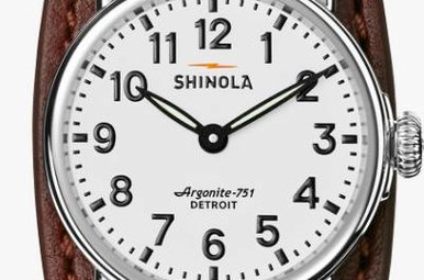 Shinola Runwell 28mm Watch with Dark Congac Aniline Latigo Leather Strap