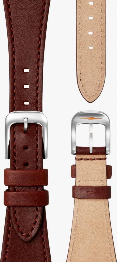 Shinola Runwell 28mm Watch with Dark Congac Aniline Latigo Leather Strap
