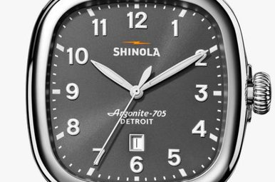Shinola Guardian 4.15 x 43mm Charcoal Grey Dial, Brown Leather Strap Watch