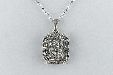 10k White Gold 1/2ctw Diamond Fashion Pendant Necklace