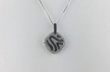 14k White Gold 1/6ct Black & White Diamond Fashion Pendant Necklace