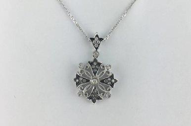 14k White Gold 1/2 ctw Diamond Fashion Pendant Necklace